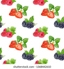 Berries seamless pattern watercolor illustration isolated on white