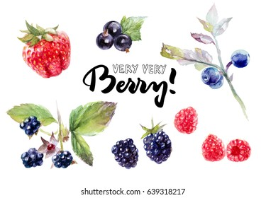 Berries watercolor set illustration isolated on white background. Strawberry, blackcurrant, blackberry, raspberry, blueberry.