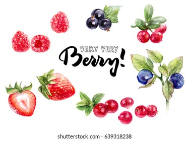 Berries watercolor set illustration isolated on white background. Strawberry, blackcurrant, lingonberry, cranberry, raspberry, blueberry.