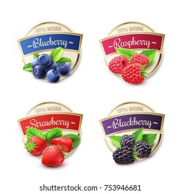 Berry labels realistic set with strawberry and blueberry isolated  illustration