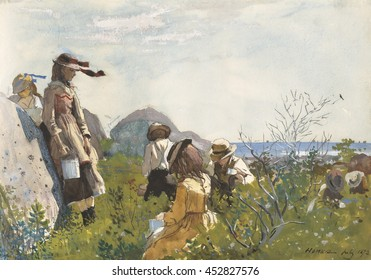 Berry Pickers, by Winslow Homer, 1873, American painting, watercolor on paper. Seven children with metal pails pick berries on the seashore
