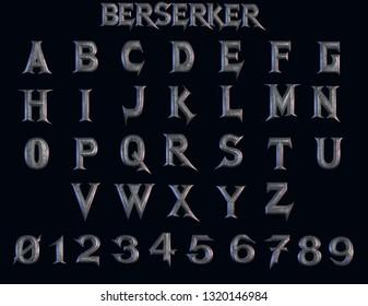 Berserker Metal Alphabet - 3D illustration