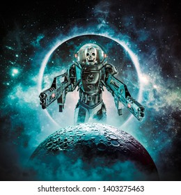 Berserker skeleton military astronaut 3D illustration of science fiction scene showing evil skull faced space soldier with laser pulse weapons rising above moon
