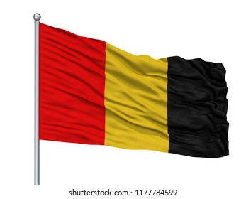 Besancon City Flag On Flagpole, Country France, Isolated On White Background