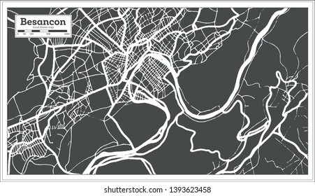 Besancon France City Map in Retro Style. Outline Map.