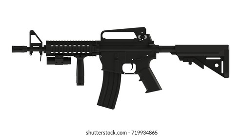 Beside view of black assult rifle AR15 model MK18 MOD1 isolated on white background, 3D rendering