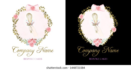Bespoke Bakery Logo with two colored background design and gold and purple name fonts.