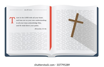 Best Bible verses about trust to remember - Proverbs 3:5-6. Holy scripture inspirational sayings for Bible studies and Christian websites, illustration isolated over white background