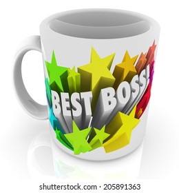 Best Boss words ceramic coffee cup or mug top leader, manager, employer, executive