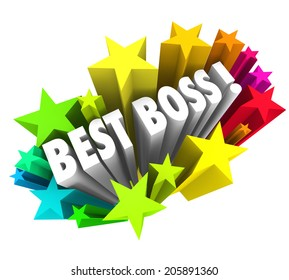 Best Boss words surrounded by colorful fireworks or stars recognize the top leader