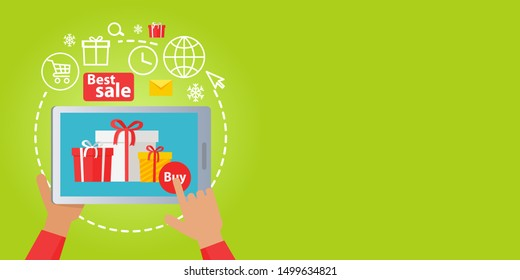 Best Christmas sale of colourful presents online all around world. raster illustration of buying boxes with gifts with help of modern gadgets in Internet. Process of seeking, sending and getting goods