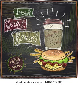 Best fast food chalkboard design with hamburger, french fries and coffee, rasterized version