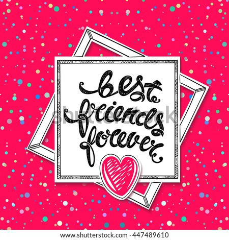 Best friends forever greeting card hand stock illustration 447489610 best friends forever greeting card hand drawn letters m4hsunfo