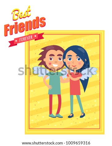 best friends forever template graphic poster stock illustration