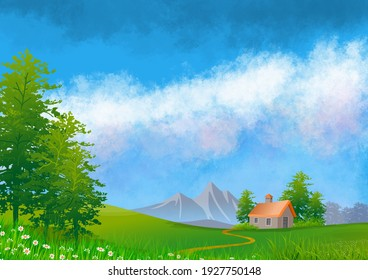 Best Happy Spring Natural Scene with Mountain, Clouds, Sky,Trees and House illustration