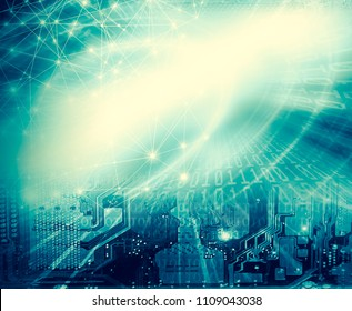 Best Internet Concept of global business.Technological background, symbols Wi-Fi, of the Internet, television, mobile and satellite communications