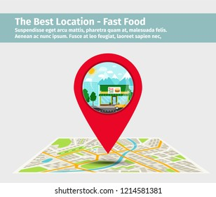 The best location fast food. Point on the map with building, illustration
