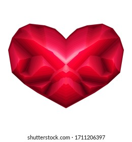 Best Love Diamond Heart big illustration design nice crystal shape red scarlet flower icon