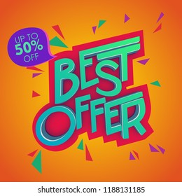 Best Offer 3D Text Colorful Poster