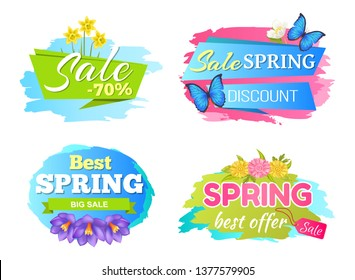 Best offer spring big sale discounts 50 posters set with decorative labels butterfly and springtime flowers daffodils bloom purple crocus daisies