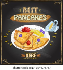 Best pancakes here, poster design with pancakes served with berries on a plate, rasterized version