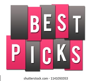 Best picks text written over pink grey background.