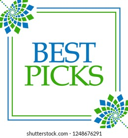 Best picks text written over green blue background.