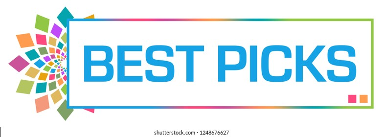 Best picks text written over colorful  background.
