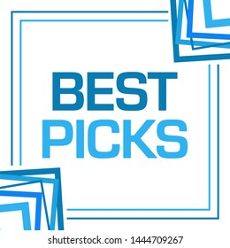 Best picks text written over blue background.