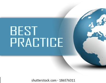 Best Practice concept with globe on white background