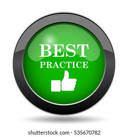 Best practice icon, green website button on white background.