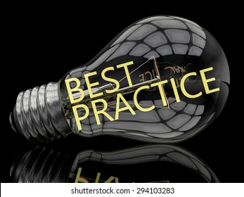 Best Practice - lightbulb on black background with text in it. 3d render illustration.