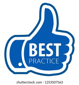 Best practice thumb up sticker icon isolated on white background. illustration