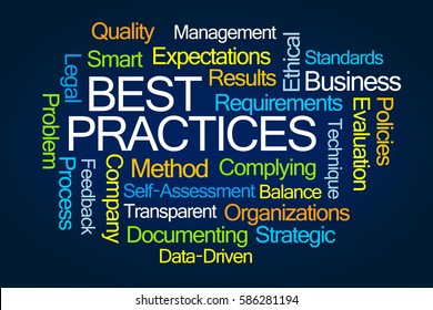 Best Practices Word Cloud on Blue Background