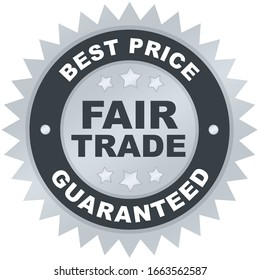 Best Price Fair Trade product label or badge or sticker image isolated on white background