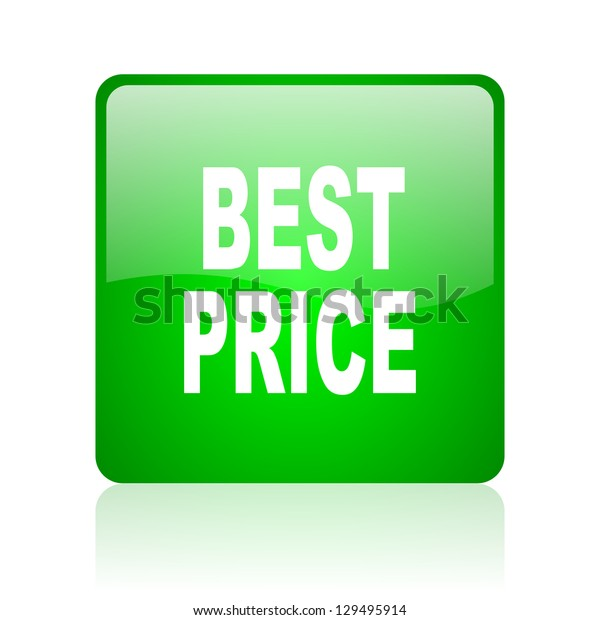 best price green square web icon on white background