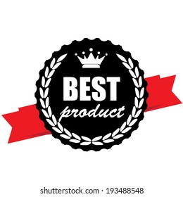 Best product guarantee black label with ribbon and crown - jpg.