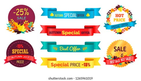 Best products sale labels set with text, percent signs and discounts written on arrow ribbons and round sticker in autumn fall concepts raster