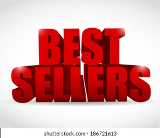 best seller red sign illustration design over a white background