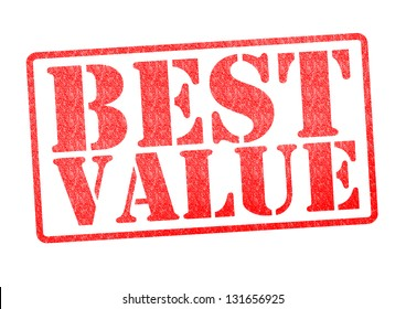 BEST VALUE red rubber stamp over a white background.