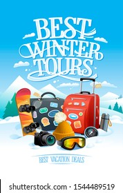 Best winter tours design concept with two big suitcases, snowboard, ski goggles, hat, compass, thermos and camera, against ski resort on a backdrop, rasterized version