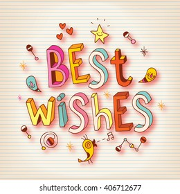 Best Wishes lettering design greeting card
