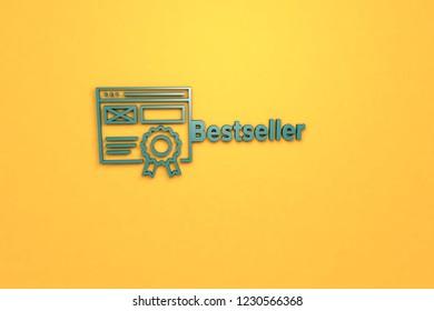 Bestseller 3D illustration, green color on orange background.