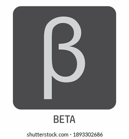Beta greek letter icon on dark box