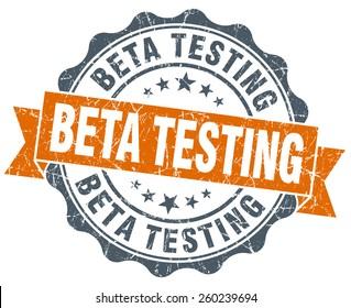 beta testing orange vintage seal isolated on white
