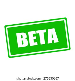 Beta white stamp text on green background