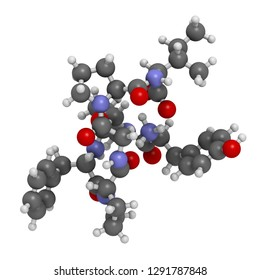 Beta-casomorphin peptide 7 molecule. Breakdown product of casein that may play a role in human diseases. 3D rendering. Atoms are represented as spheres with conventional color coding.