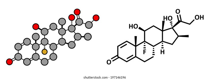 Betamethasone anti-inflammatory and immunosuppressive steroid drug, chemical structure. Conventional skeletal formula and stylized representation, showing atoms (except H) as color coded circles.