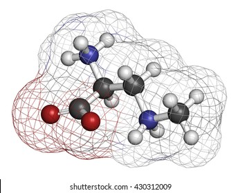 beta-Methylamino-L-alanine (BMAA) toxic amino acid molecule. Produced by cyanobacteria. 3D rendering. Atoms are represented as spheres with conventional color coding: hydrogen (white), tc