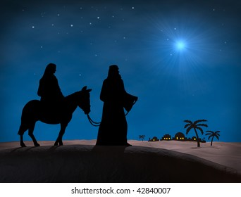 Bethlehem Christmas. Star in night sky above Bethlehem, with silhouette of Mary and Joseph on hill overlooking city.